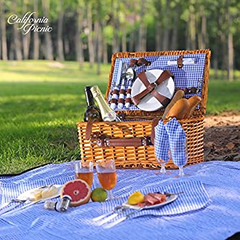 Picnic Basket Set for 4 Person | Picnic Hamper Set | Folding Picnic Blanket | Picnic Table Set | Picnic Plates | Picnic Supplies | Summer Picnic Kit | Picnic Utensils | Picnic Cutlery Set Flatware Set