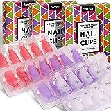 Acrylic Nail Polish Remover Clips, Teenitor Nail Art Soak Off Clips Caps UV Gel Polish Remover Wrap Tool-Purple, Pink, White, 30pcs Nail Clips