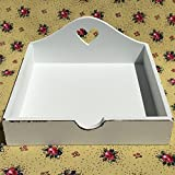 The Stockbridge Farm House Napkin Holder with Cut-out Heart, Vintage Distressed, Flat Tray Style, Rustic White, M.D.F. Wood, 7 ¼ x 7 ¼ Inches, By Whole House Worlds