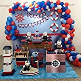 100Pcs Nautical Party Balloon Garland & Arch Kit-100pcs Latex Balloons, 16 Feets Arch Balloon Strip Tape, Glue Dots, Tying Tool for Nautical Anchor Party Sailor Party Baby Shower Birthday (Color: Navy Blue, Red, White)