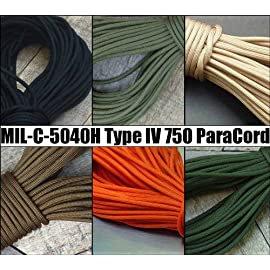 750 Paracord - 5col Survival Supply: US Military Spec MIL-C-5040h & PIA-C-5040 Type IV Nylon Parachute Cord