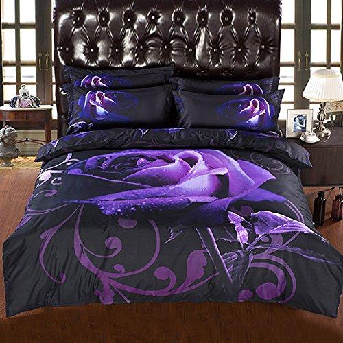 Alicemall King Size 3D Flower Purple Bedding Set Big Purple Rose with Dewdrop 5-Piece Polyester Black Comforter Sets, Floral Bedding Bedroom Duvet Cover Sets (King)