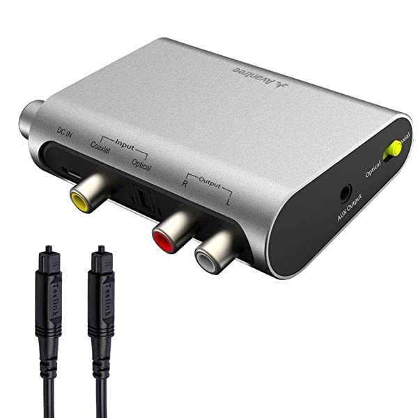 Avantree DAC Digital to Analog Audio Converter with Toslink Optical Cable, Volume Control, 192KHz, SPDIF to Stereo L/R RCA 3.5mm Adapter for PS4 PS3 X