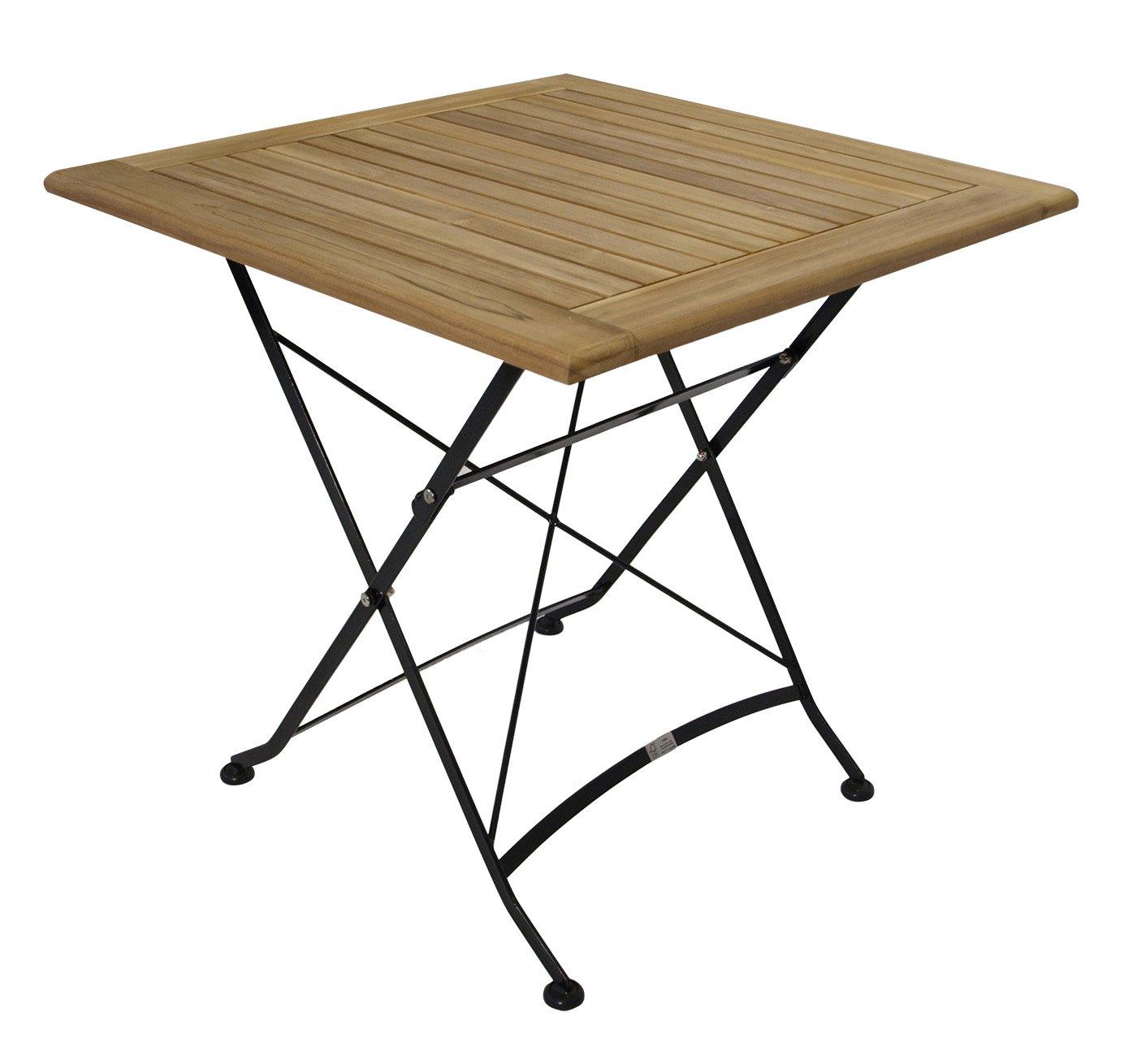 Klapptisch JAKARTA 75x75cm, Flachstahl schwarz + Teak Holz, FSC®-zertifiziert