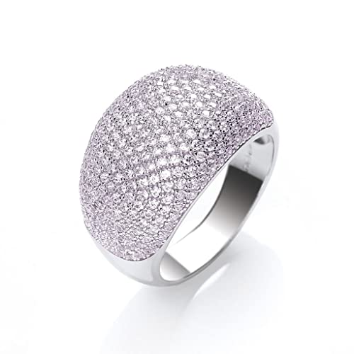J-JAZ Sterling Silver Micro Pave Cocktail Ring 283 Pink Cubic Zirconias