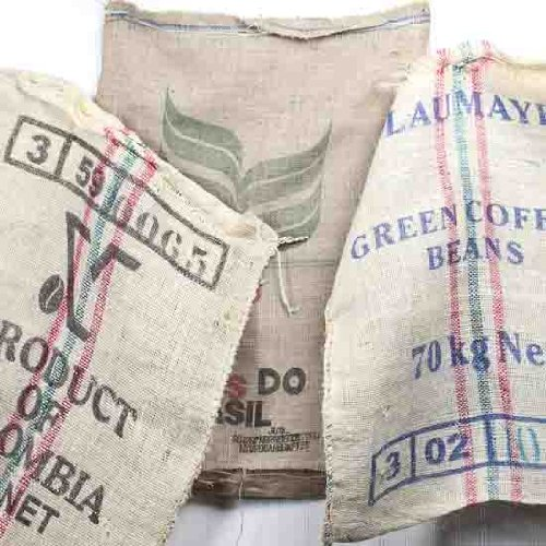 Group of 4 Assorted Style Burlap Coffee Sacks for Home Decor Primitive Accents and More
