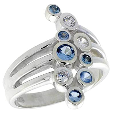 "Revoni Highest Quality Sterling Silver 13/16"" (21mm) wide Right Hand Ring, w/ Bezel Set Brilliant Cut Clear & Blue Topaz-colored CZ Stones (Available in Sizes L to T)"