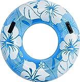 FIELDOOR 便利な持ち手付き ジャンボ浮き輪 うきわ 直径120cm ブルー (ハイビスカス柄) 大人用