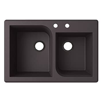 Swaoi|#Swanstone QZ03322RC.077-2A 22-In X 33-In Granite Kitchen Sink 2-Hole, Nero,