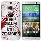 HTC One M8 (New 2014 Model) Case - White / Red Hard Plastic (PC) Cover with Funny Keep Calm and Kill Zombies Design