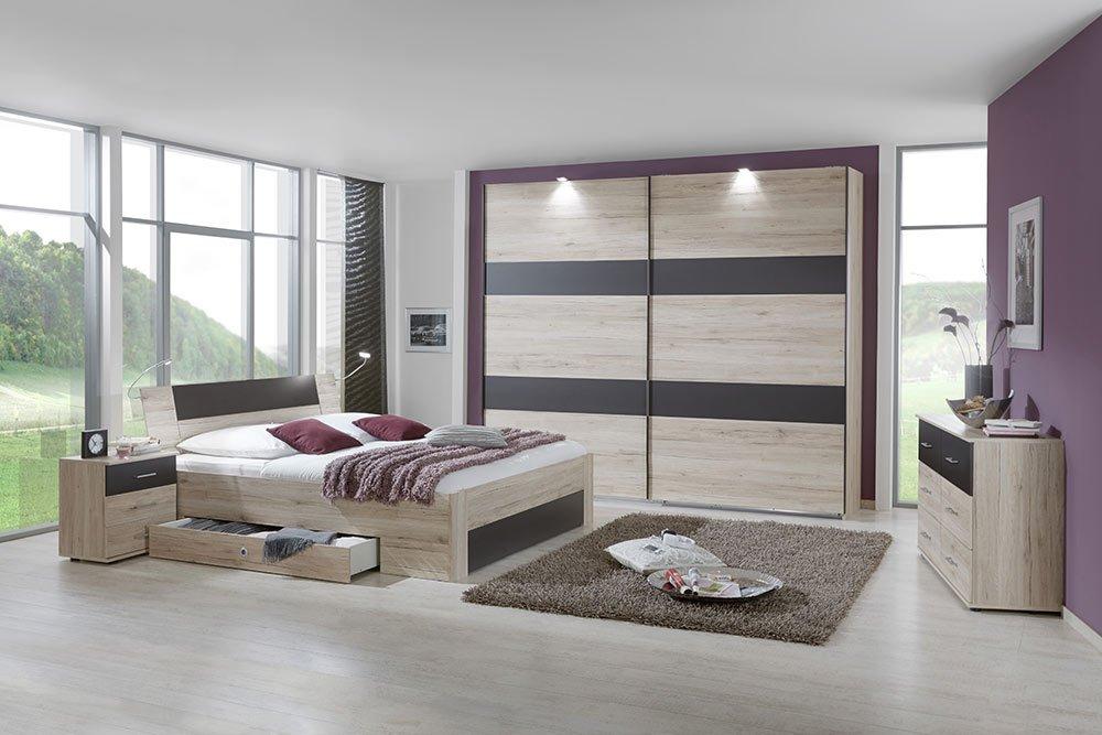 4-tlg-Schlafzimmer in San Remo-Eiche-NB mit lavafarbigen Abs., Schwebetürenschrank B: 225 cm, Bett mit Schubkästen B: 180 cm, 2 Nachtschränke B: 52 cm jetzt bestellen