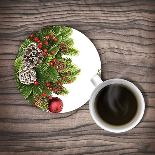 Ushopping Customized Christmas Trees, Ball And Pine Cone Rubber Coasters, Set Of 4