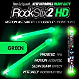ROCKSTIX 2 HD GREEN, BRIGHT LED LIGHT UP DRUMSTICKS, with fade effect, Set your gig on fire!