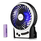 OPOLAR Battery Operated Desk Fan with Large Capacity of 3350mAh, Max. 15 Hrs Per Charge, Strong Wind, 3 Speeds, Portable, Rechargeable, Quiet, USB Pow