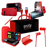 Orzly Switch Accessories Bundle, Red Orzly Carry Case for Nintendo Switch Console, Tempered Glass Screen Protectors, USB Charging Cable, Switch Games Case, Comfort Grip Case, Headphones Red (Color: RED)