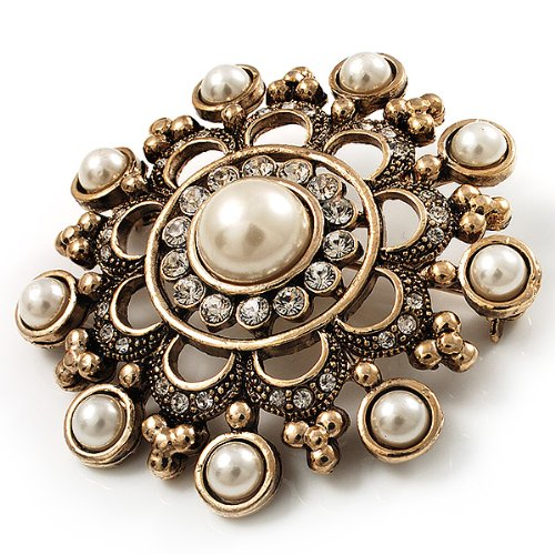 Antique Gold Filigree Simulated Pearl Corsage Brooch 2