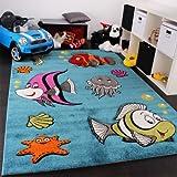 Kinderteppich Klaunfisch Unterwasserwelt Design Türkis Blau Grün Creme Pink