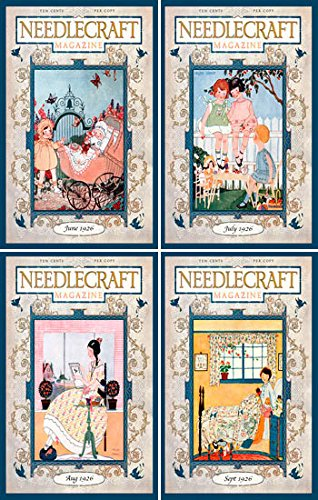 Olde America Antiques Set of 4 Fabric Quilt Blocks Needlecraft Magazine Sewing/QUilting 32 Ready to Sew