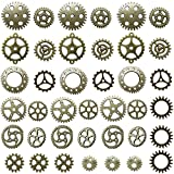 Miraclekoo Antique Bronze Steampunk Gears Crafting Charms Clock Watch Wheel Gear Pendant Charms ,39 Pcs