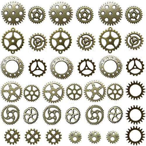 Miraclekoo-Antique-Bronze-Steampunk-Gears-Crafting-Charms-Clock-Watch-Wheel-Gear-Pendant-Charms-39-Pcs