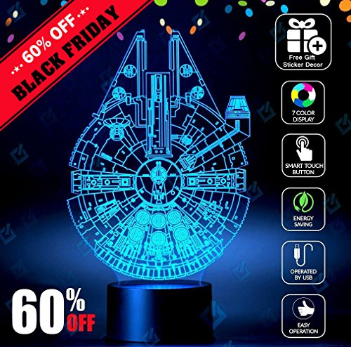 Millennium Falcon Star Wars Lighting Gadget Lamp Decor Awesome Gift (Starter Star Shorts compare prices)