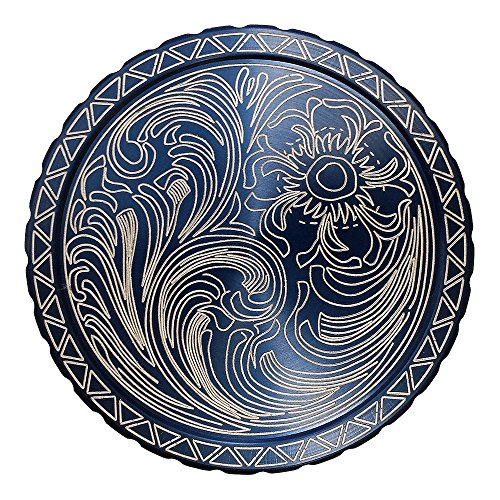 DipLidz Engraved snuff lid Flower Scroll with silver serration (Blue, 5450-Grizzly-Hawken-Kodiak) (Engraved Snuff Can Lids compare prices)