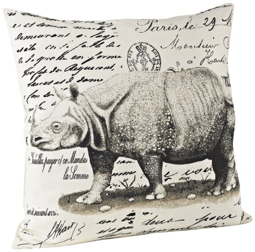 SARO LIFESTYLE 3133 Rhinoceros Square Pillow, 18-Inch, Natural