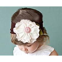 Baby Girl Infant Toddler Cotton Flower Headband Headwear Hair Band pattern Pink
