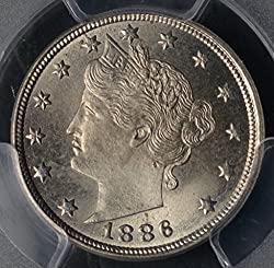 1886 Liberty Head 5c Ms65 Pcgs