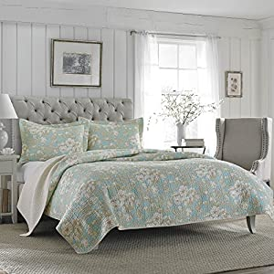 Laura Ashley Brompton Serene Reversible Quilt Set, Full/Queen