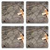 Liili Square Coasters (4 Piece) Wooden antique look crucifix necklace isolated on grunge wall background Photo 10412794 Set Cup Mat Mug Can Water Bottle Drink Customized Stain Resistance