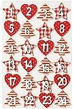 Mini-Holzzahlen-Set, 1-24 sortiert, ca. 35mm, weiß-rot