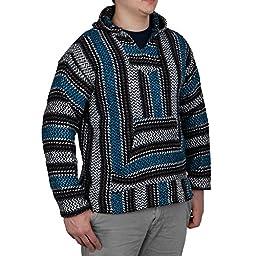 Baja Joe Striped Woven Eco-Friendly Jacket Coat Hoodie (Turquoise, Small)