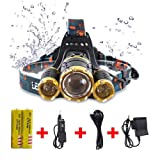 10000 LM Best Headlamp LED flashlight, super bright Helmet light-18650 USB rechargeable, waterproof, zoom function, 3 lights 4 mode Battery Included,Perfect for outdoor sports headlight (Gold) (Color: Gold, Tamaño: Pocket Size)