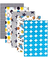 Luvable Friends Flannel Receiving Blankets, Rockets, 5 Count