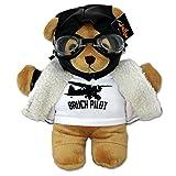 BERLIN Plush Teddy Bear Stuffed Animal Pilot Bear with Aviator Clothing Germany Souvenir Brown 10''