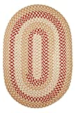 Indoor/Outdoor Rug, Beige Reversible Braided Textured Design, 4Ft. X 6Ft. Oval Deck/Patio Carpet