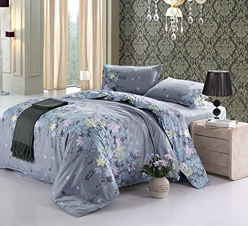 Vaulia Cotton Blend Lightweight Duvet Cover Sets, Floral Print Pattern Design, Grey - Full/Queen Size