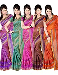 Nilesh Fab Chitnadu Cotton Sarees(Pack Of 5)