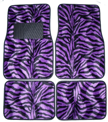 Purple Zebra White Tiger Animal Print Carpet Floor Mats for Cars / Truck - A Set of 4 Universal Fit