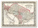 "MAP Plan of the City of Washington DC & Georgetown circa 1867 - measures 18"" high x 24"" wide (458mm high x 610mm wide)"