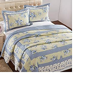 Brandream shabby yellow and blue floral girls - Yellow and blue bedding queen ...