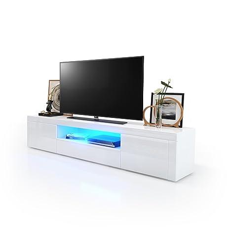 TV Board Lowboard Santiago, Korpus in Weiß Hochglanz / Fronten in Weiß Hochglanz inkl. LED Beleuchtung