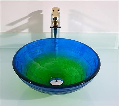FEN Lavandino rotondo blu gradiente Lavabo rotondo lavabo tinto lavabo lavabo lavabo Home lavabo lavabo T19 * ø420 * H145mm
