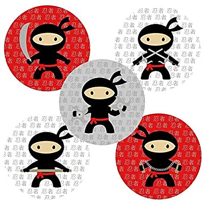 Ninja Stickers - Party Favors Labels - Party Supplies - Set of 50