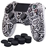YoRHa Water Transfer Printing Flowers Silicone Cover Skin Case for Sony PS4/slim/Pro Dualshock 4 controller x 1(white) With Pro thumb grips x 8 (Color: leaves white, Tamaño: water print)