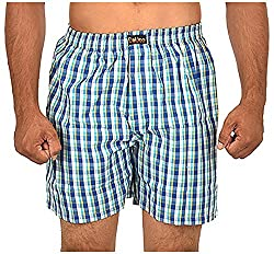 CALICO Men's Cotton Boxers (CAL_01_S, Blue and White, S)