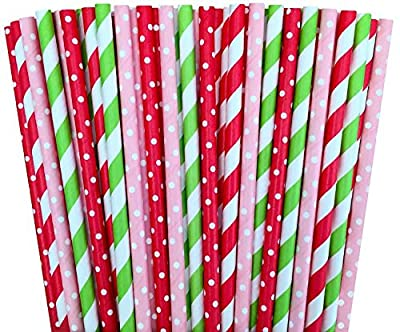 Red Pink and Lime Green Polka Dot and Striped Paper Straws Strawberry Shortcake Birthday Party Supply- Baby Shower Picnic 100%Biodegradable 7.75 Inches Pack of 100