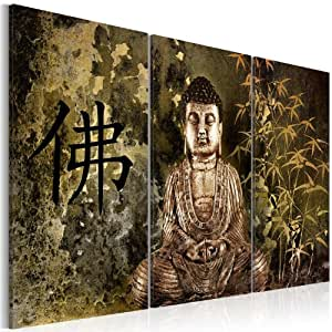 impression sur toile 120x80cm 3 parties image sur toile images photo tableau bouddha. Black Bedroom Furniture Sets. Home Design Ideas