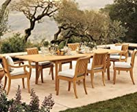 "9 Pc Luxurious Grade-A Teak Dining Set - 117"" Double Extension Rectangle Table & 8 Giva Chairs (6 Armless & 2 Arm / Captain) by WholesaleTeak"